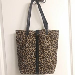 Handbags - Chic Leapord and Leather Tote Shoulder Handbag